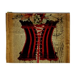 Black Red Corset Vintage Lily Floral Shabby Chic French Art Cosmetic Bag (XL)