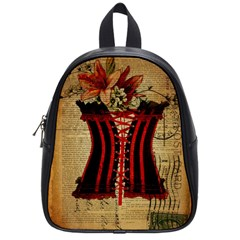 Black Red Corset Vintage Lily Floral Shabby Chic French Art School Bag (small)