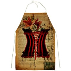 Black Red Corset Vintage Lily Floral Shabby Chic French Art Apron
