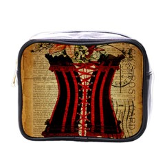 Black Red Corset Vintage Lily Floral Shabby Chic French Art Mini Travel Toiletry Bag (one Side)