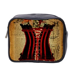 Black Red Corset Vintage Lily Floral Shabby Chic French Art Mini Travel Toiletry Bag (Two Sides)