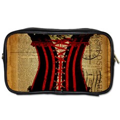 Black Red Corset Vintage Lily Floral Shabby Chic French Art Travel Toiletry Bag (One Side)