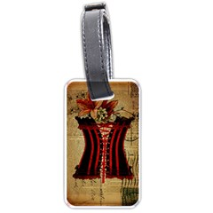 Black Red Corset Vintage Lily Floral Shabby Chic French Art Luggage Tag (Two Sides)