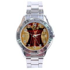 Black Red Corset Vintage Lily Floral Shabby Chic French Art Stainless Steel Watch (Men s)
