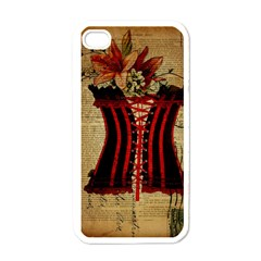Black Red Corset Vintage Lily Floral Shabby Chic French Art Apple iPhone 4 Case (White)