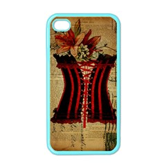 Black Red Corset Vintage Lily Floral Shabby Chic French Art Apple iPhone 4 Case (Color)