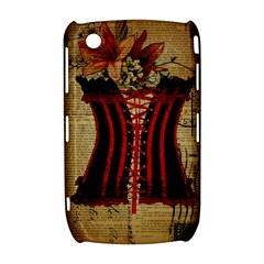 Black Red Corset Vintage Lily Floral Shabby Chic French Art BlackBerry Curve 8520 9300 Hardshell Case