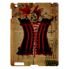 Black Red Corset Vintage Lily Floral Shabby Chic French Art Apple Ipad 3/4 Hardshell Case