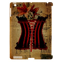 Black Red Corset Vintage Lily Floral Shabby Chic French Art Apple Ipad 3/4 Hardshell Case (compatible With Smart Cover)