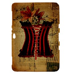 Black Red Corset Vintage Lily Floral Shabby Chic French Art Samsung Galaxy Tab 8.9  P7300 Hardshell Case