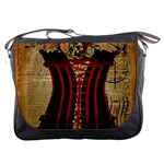 Black Red Corset Vintage Lily Floral Shabby Chic French Art Messenger Bag Front
