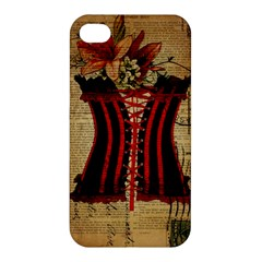 Black Red Corset Vintage Lily Floral Shabby Chic French Art Apple iPhone 4/4S Premium Hardshell Case