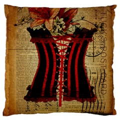 Black Red Corset Vintage Lily Floral Shabby Chic French Art Large Cushion Case (single Sided)