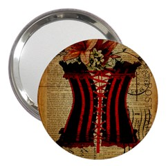 Black Red Corset Vintage Lily Floral Shabby Chic French Art 3  Handbag Mirror