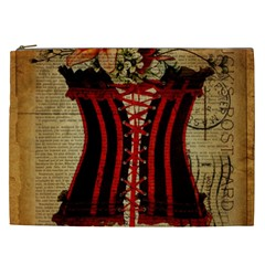 Black Red Corset Vintage Lily Floral Shabby Chic French Art Cosmetic Bag (xxl)