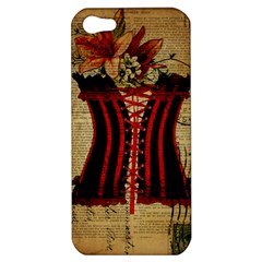 Black Red Corset Vintage Lily Floral Shabby Chic French Art Apple iPhone 5 Hardshell Case