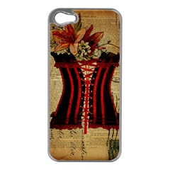 Black Red Corset Vintage Lily Floral Shabby Chic French Art Apple iPhone 5 Case (Silver)