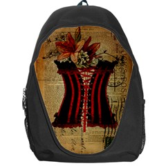 Black Red Corset Vintage Lily Floral Shabby Chic French Art Backpack Bag