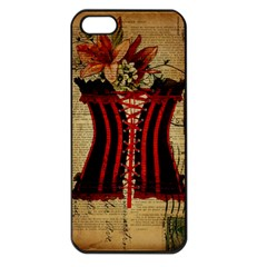 Black Red Corset Vintage Lily Floral Shabby Chic French Art Apple Iphone 5 Seamless Case (black)