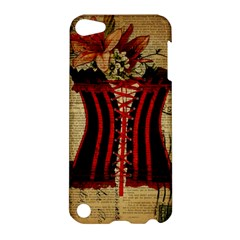 Black Red Corset Vintage Lily Floral Shabby Chic French Art Apple iPod Touch 5 Hardshell Case