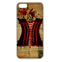 Black Red Corset Vintage Lily Floral Shabby Chic French Art Apple Seamless iPhone 5 Case (Clear)