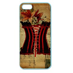 Black Red Corset Vintage Lily Floral Shabby Chic French Art Apple Seamless iPhone 5 Case (Color)