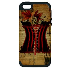 Black Red Corset Vintage Lily Floral Shabby Chic French Art Apple iPhone 5 Hardshell Case (PC+Silicone)