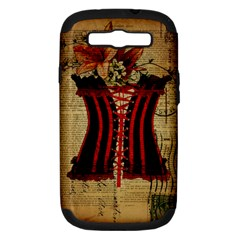 Black Red Corset Vintage Lily Floral Shabby Chic French Art Samsung Galaxy S Iii Hardshell Case (pc+silicone)