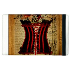 Black Red Corset Vintage Lily Floral Shabby Chic French Art Apple Ipad 3/4 Flip Case