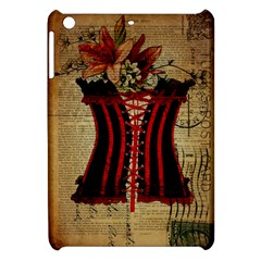 Black Red Corset Vintage Lily Floral Shabby Chic French Art Apple Ipad Mini Hardshell Case