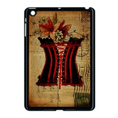 Black Red Corset Vintage Lily Floral Shabby Chic French Art Apple iPad Mini Case (Black)