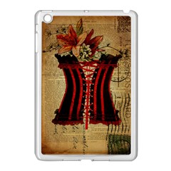 Black Red Corset Vintage Lily Floral Shabby Chic French Art Apple iPad Mini Case (White)
