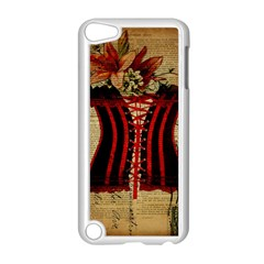 Black Red Corset Vintage Lily Floral Shabby Chic French Art Apple iPod Touch 5 Case (White)