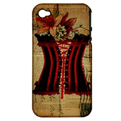 Black Red Corset Vintage Lily Floral Shabby Chic French Art Apple Iphone 4/4s Hardshell Case (pc+silicone)