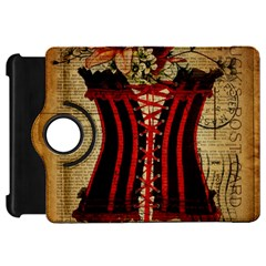 Black Red Corset Vintage Lily Floral Shabby Chic French Art Kindle Fire HD 7  Flip 360 Case
