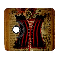Black Red Corset Vintage Lily Floral Shabby Chic French Art Samsung Galaxy S  III Flip 360 Case