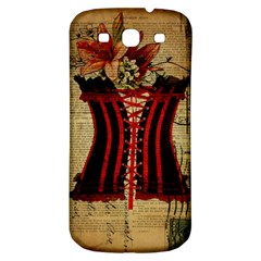 Black Red Corset Vintage Lily Floral Shabby Chic French Art Samsung Galaxy S3 S III Classic Hardshell Back Case