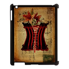 Black Red Corset Vintage Lily Floral Shabby Chic French Art Apple iPad 3/4 Case (Black)