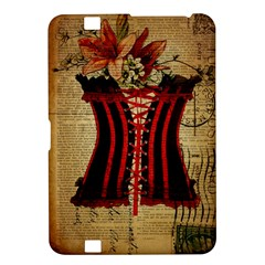 Black Red Corset Vintage Lily Floral Shabby Chic French Art Kindle Fire HD 8.9  Hardshell Case