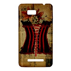 Black Red Corset Vintage Lily Floral Shabby Chic French Art HTC One SU T528W Hardshell Case