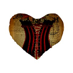 Black Red Corset Vintage Lily Floral Shabby Chic French Art 16  Premium Heart Shape Cushion