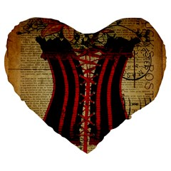 Black Red Corset Vintage Lily Floral Shabby Chic French Art 19  Premium Heart Shape Cushion