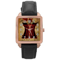 Black Red Corset Vintage Lily Floral Shabby Chic French Art Rose Gold Leather Watch
