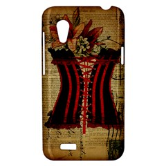 Black Red Corset Vintage Lily Floral Shabby Chic French Art HTC Desire VT T328T Hardshell Case