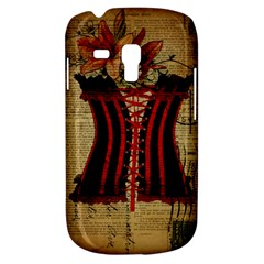 Black Red Corset Vintage Lily Floral Shabby Chic French Art Samsung Galaxy S3 Mini I8190 Hardshell Case