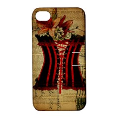 Black Red Corset Vintage Lily Floral Shabby Chic French Art Apple iPhone 4/4S Hardshell Case with Stand