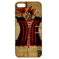 Black Red Corset Vintage Lily Floral Shabby Chic French Art Apple Iphone 5 Hardshell Case With Stand