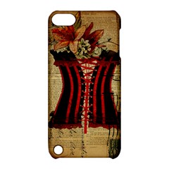 Black Red Corset Vintage Lily Floral Shabby Chic French Art Apple Ipod Touch 5 Hardshell Case With Stand
