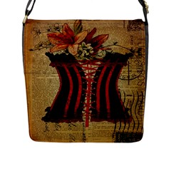 Black Red Corset Vintage Lily Floral Shabby Chic French Art Flap Closure Messenger Bag (Large)