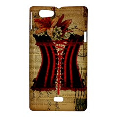 Black Red Corset Vintage Lily Floral Shabby Chic French Art Sony Xperia Miro Hardshell Case